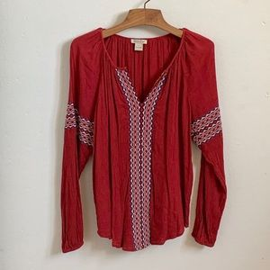 Lucky Brand red long sleeved tunic style top